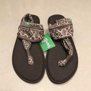 Sanuk Yoga Mat Footbed Sling 2 Print Brown Sandals